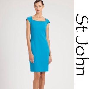 ST JOHN Peacock Blue Wool Blend Sheath Dress